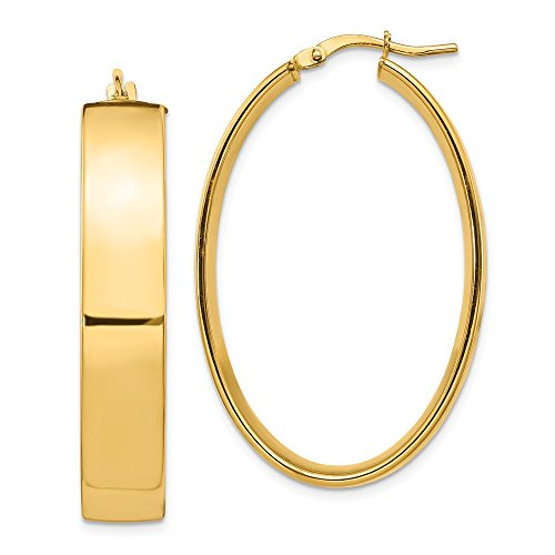 Leslie e's - Pendientes de aro ovalados de oro amarillo de 14 quilates, 7,75 mm, alto pulido, 40 x 23 mm, para mujer