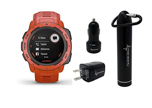 Garmin Instinct Rugged GPS Watch and Wearable4U Ultimate Power Pack Bundle (Flame Red)