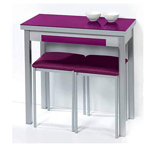 Sueña y Descansa Mesa Libro Tapa de Cristal Color Morado 90 x 50 cm Extensible 90x 100 cm