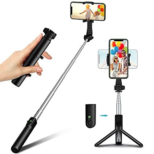 Goigrn Palo Selfie Tripode, Mini Tripode para Movil, Compacto y Ultraligero Extensible Selfie Stick Bluetooth con Control...