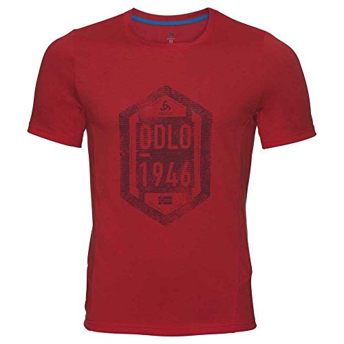 Odlo Nikko Dry T-Shirt à col Rond pour Homme Imprimé Fiery Red Placed SS18, S