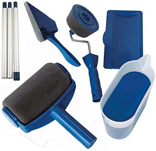 Paint Roller Brush Kit, 8Pcs House Wall Painting Roller with Paint Runner Brush, Wall Printing Brush, 3 Telescopic Poles, Handle Flocked Edger Painting for Painting Supplies, Interior Paint (Blue)