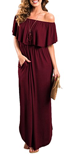 Womens Off The Shoulder Ruffle Party Dress Side Split Beach Long Maxi Dresses Wine Red L