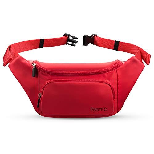 FREETOO Marsupio con 5 Tasche Marsupio Bum Bag cintura regolabile singola spalla per escursionismo casuale bicicletta nera Nero (Donna Rosso)