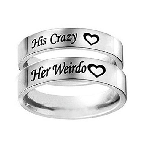 Anillo de boda, de compromiso o para regalar de acero inoxidable con grabado de...