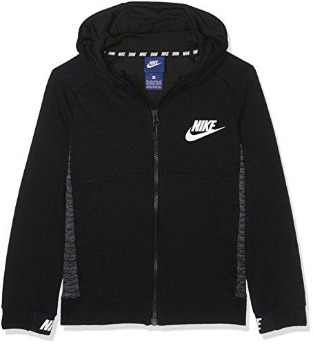 Nike Jungen Langarm Oberteil Mit Kapuze Full-zip Sportswear Full Zip Advance 15, Black/White, XS, 856185-010