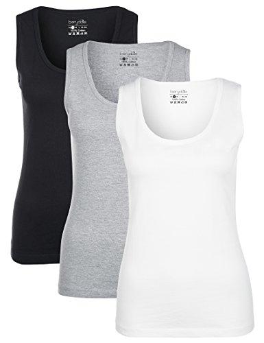 Berydale Damen Tank Top mit Rundhalsausschnitt aus 100 Prozent Baumwolle, 5er Pack, Mehrfarbig (Schwarz/Weiß/Grau), Medium