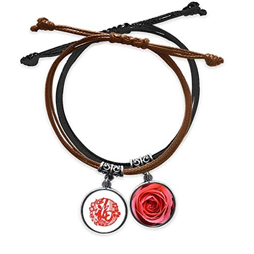 offbb China bendice Group Pulsera Cuerda Mano Cadena Cuero Rosa Pulsera
