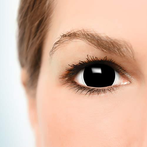 Farbige Mini Black Sclera Kontaktlinsen Lenses inkl. 10ml Kombilösung und Behälter – Top Linsenfinder Markenqualität, 1Paar (2 Stück) - 3