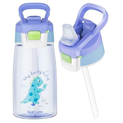 Newdora Borraccia Bambini-480ml-Borraccia con Cannuccia per Bambini-Mini Bottiglia Acqua senza BPA-Bottiglia A Prova di Perdite-Borraccia Termica in plastica-Borraccia con Cannuccia Portabile