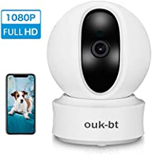 OUK-BT Wireless Security Camera, IP Camera 1080P 2MP Video Baby Monitor, WiFi Home Security Indoor Camera, Motion Detection, 2 Way Audio Night Vision Compatible with Alexa Echo and Google Home