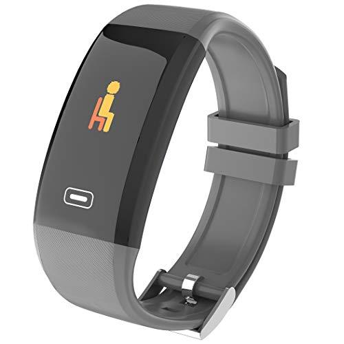 HBWJSH Intelligente Sport Armband Farbe Bildschirm Herzfrequenz Blutdruck Pedometer Wasserdichte Erkennung Schlaf Enhancement Hand Heller Bildschirm Bluetooth (Farbe : Gray)