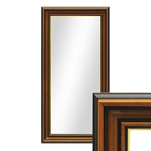 PHOTOLINI Wand-Spiegel 40x70 cm im Holzrahmen Antik Breit Dunkelbraun mit Goldkante/Spiegelfläche 30x60 cm