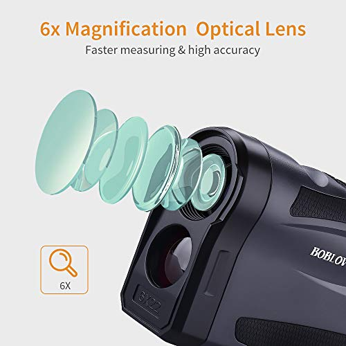 BOBLOV 650Yards Slope Golf Rangefinder 6X Magnification Distance Range Finder with Vibration Flag Locking Extra Scanning Continuous Mode Lifetime Battery Relacement Service (K600)