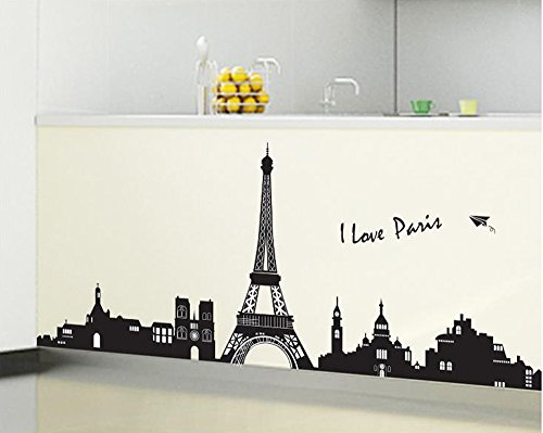 ufengke® Paris Silueta de La Torre Eiffel de La Ciudad Pegatinas de Pared, Sala de Estar Dormitorio Removible Etiquetas de La Pared/Murales