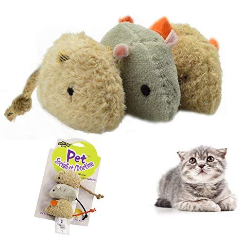 LHKJ 3 Stück Maus Spielzeug für Katzen,Interaktive Fellmäuse Spielzeug Kauen Spielzeug -Zufällige Farbe