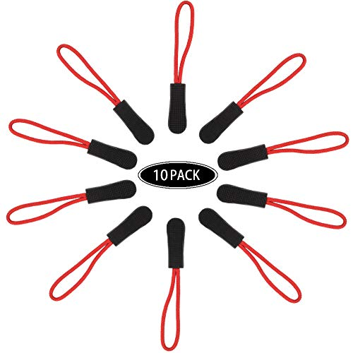 CTZD Durable Cord Zipper Pulls Pull Tab Zipper Replacement for Purses,Backpacks, Luggage, Clothing(Black Red,10 Pack)