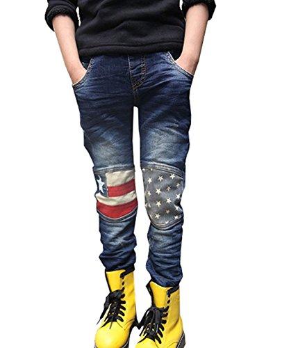 ワボーズ Waboatsボーイズ春の星ポケット3-7歳ジーンズ パンツ 男の子のジーンズ ズボン パンツ ダークブルー 110