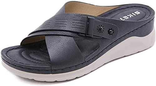 HTYY Sandalias de Plataforma para Mujeres Cómodo cuña de Punta Abierta Sandalias para Mujer Slip en Sandalias de Forma Plana 36-42-40_Negro