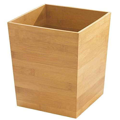 mDesign Mülleimer Bambus ohne Deckel – quadratischer Abfallsammler für Büro, Wohnzimmer oder Schlafzimmer – BHT: 20,0 x 25,5 x 20,0 cm – Papierkorb aus Bambus – natur