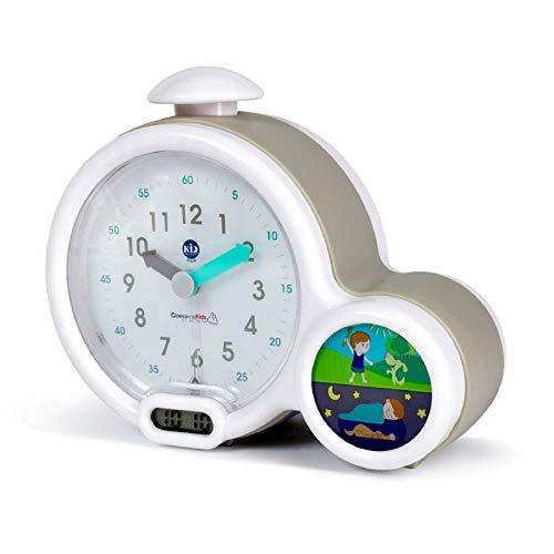 Claessens' Kid - Clock - Réveil Enfant Educatif Jour/Nuit Lumineux - Double Affichage et 3 Alarmes au choix - Fonctionne Sur Secteur ou à Piles - Gris
