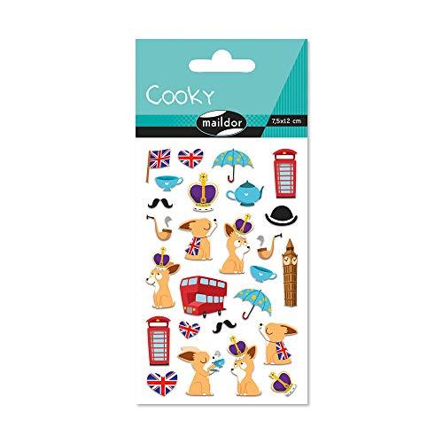 Maildor 560381C Packung mit Stickers Cooky 3D (1 Bogen, 7,5 x 12 cm, ideal zum Dekorieren, Sammeln oder Verschenken, London) 1 Pack