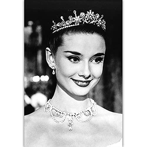 Czarno-biała sztuka fotograficzna Audrey Hepburn obraz na płótnie Nordic plakaty drukuj Salon Home Decor C6 50 × 70 CM bez ramki