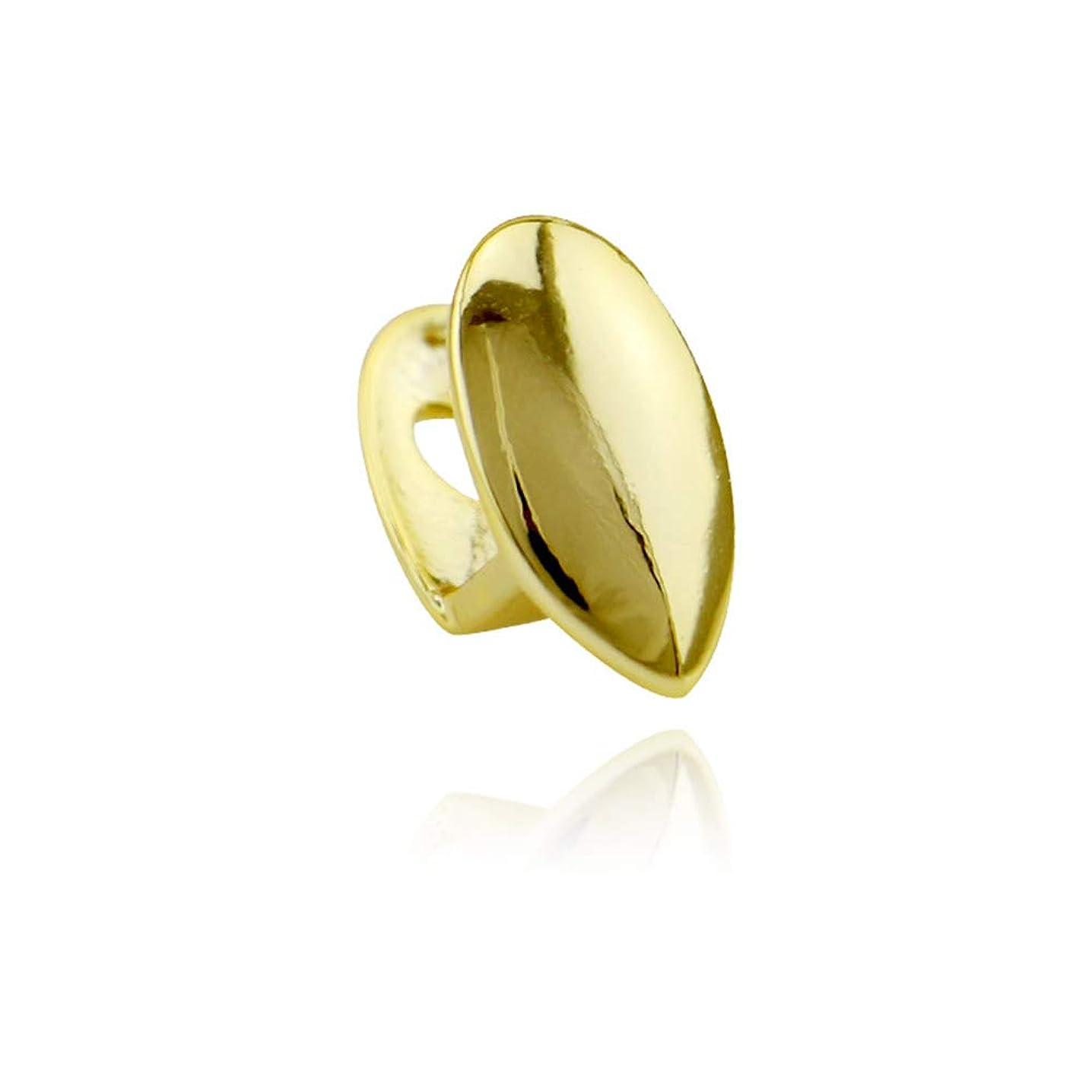タワー結晶あえて新しい単一の滑らかな金の歯ヒップホップメッキゴールドバーベキュー牙フルメタルジュエリーブレース笑顔完璧なアクセサリーハロウィンパーティーロールプレイ,Gold