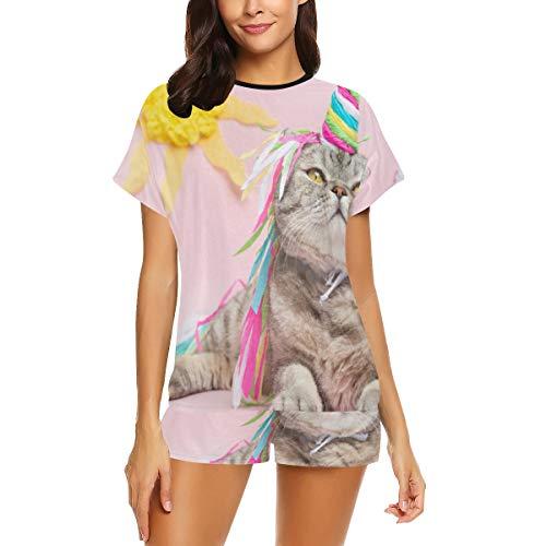 Conjunto de Pijama Casual para Mujer, Pijama Cute Cat Unicorn Rainbow Horn en Pijama de Manga Corta, Pijama Ladys Estampado Pijama de Dos Piezas Conjunto de Pijama de pantalón Corto de Manga Corta