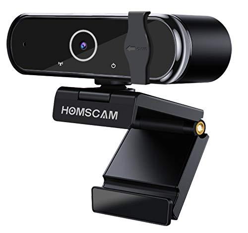 Cámara Web, HOMSCAM Webcam Enfoque Automático con Micrófono Estéreo 1080P HD Webcam de Ordenador Enchufable para Grabaciones y Emisiones con USB para Videoconferencias/Videollamadas/Videojuego