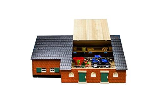 Kids Globe Kuhstall mit Bauernhaus 1:32, Scheune aus Holz, ohne Tiere/Fahrzeuge, Maße 75x55x32cm