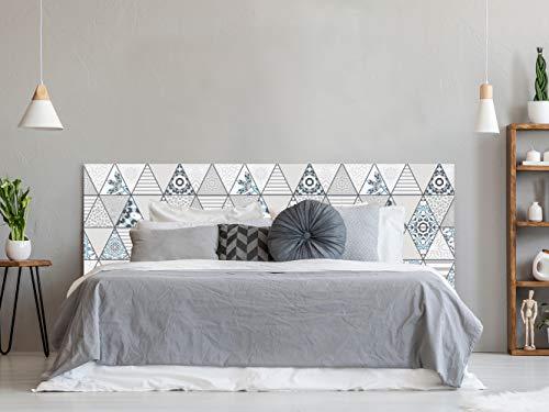 Cabecero Cama PVC Impresión Digital sin Relieve Estampado en Triángulos 135 x 60 cm | Disponible en Varias Medidas | Cabecero Ligero, Elegante, Resistente y Económico