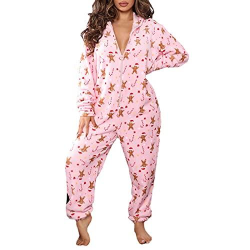Mono De Dormir para Mujer, Onesies De Felpa Cálidos Y Acogedores para Adultos, Pijamas De Una Pieza De Navidad (Color : E, Tamaño : L)