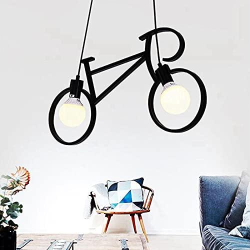 EnweOil Lámpara Colgantes Industriales Bicicleta Vintage de Metal, Portalámparas de Metal de Latón Cepillado, Área de Radiación: 10-15 Metros Cuadrados / 107,64-161,46 Pies Cuadrados,Negro