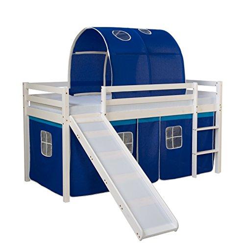 Homestyle4u 1568, lit d'enfant 90x200 blanc, lit mezzanine avec rideau coulissant bleu tunnel, bois de pin