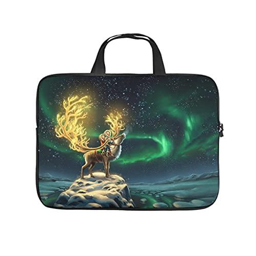 Facbalaign Funda para portátil con diseño de ciervo mágico y cielo estrellado para tablet, resistente al agua, suave, resistente al desgaste, con asa.