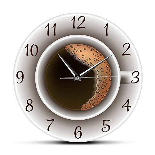 Reloj de pared de espuma con diseño de taza de café, reloj de pared, decoración nórdica, 12 pulgadas