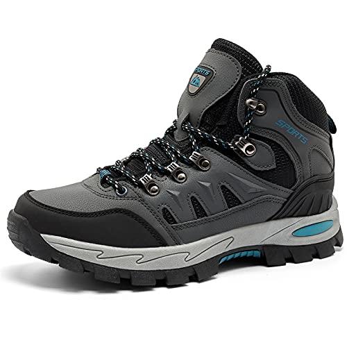 Botas de Senderismo Hombre Mujer Montaña Antideslizantes Zapatillas Trekking Calzado Transpirable Walking Boots Negro Verde Rojo EU 36-47 Gris 43