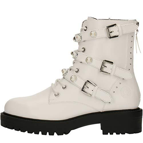 BULLBOXER Damen Stiefel, Frauen Schnürstiefel,Boots,Combat Boots,Schnürung, Boots Combat schnürung Freizeit,Weiß,40 EU / 7 UK