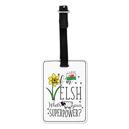 Gift Base I'm Welsh What's Your Superpower Visual Luggage Tag with Black Strap