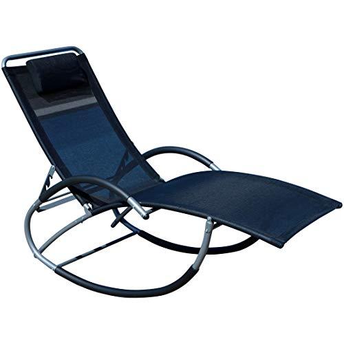 ASS Liegestuhl Schwingstuhl Schaukelstuhl Schaukelliegestuhl mit atmungsaktiven Kunststoffgewebe Rückenlehne verstellbar + Kopfpolster Kreta, Farbe:Schwarz