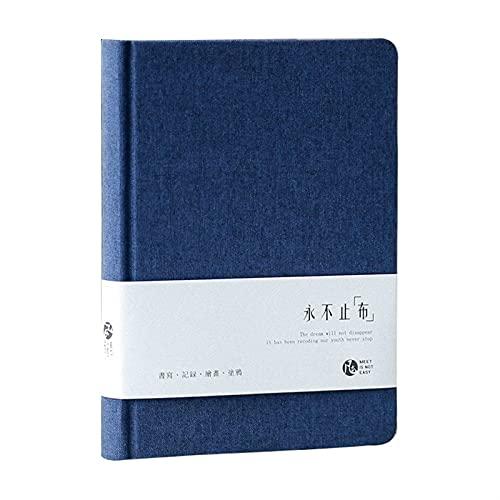 WANGYIYI Diarios portátiles Cuaderno de Tela de Color Liso Bloc de Notas de línea Horizontal Simple Cuadernos del Plan Diario del Estudiante Material de Oficina de papelería (Color : Blue)