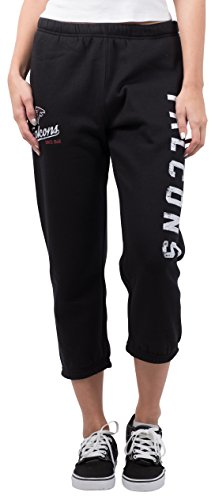 Ultra Game Women's NFL Jogger Pants Capri Cropped Fleece Sweatpants, Atlanta Falcons, Black, X-Large