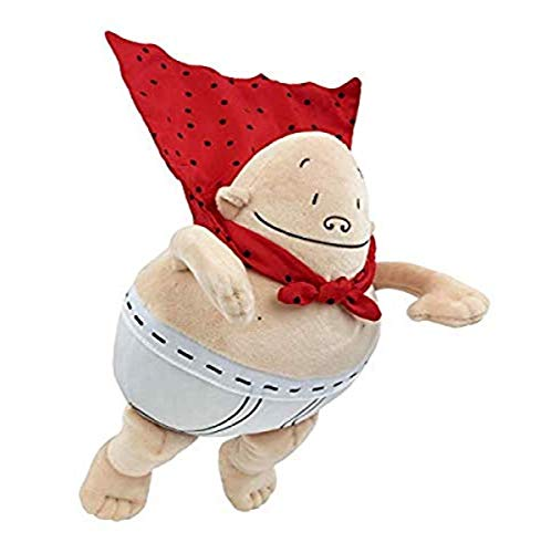 MerryMakers Captain Underpants Soft Superhero Toy, 10-Inch, from The bestselling Comic Book Series by Dav Pilkey, Red