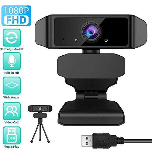 GEHUAY Webcam per PC con Microfono - Otturatore Webcam 1080P 30fps Telecamera PC Videoconferenza Webcam Full HD Stream Compatibile con Mac, Microsoft Windows e Android