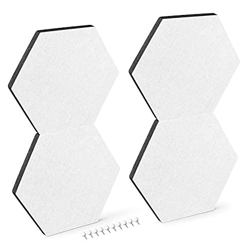 Navaris Filz Memoboards Set sechseckig - 4X Filz Pinnwand 20 x 17 x 1,5cm mit Stecknadeln und Klebeband - Filzboard für Küche und Büro - Weiß