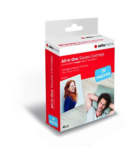 AGFA Foto, Patrone und Papier, 20 Fotos, quadratisch, 7,6 x 7,6 cm, ASQC20, kompatibel mit AGFA Foto, Realipix Square P, AGFA Foto, Realipix Square S
