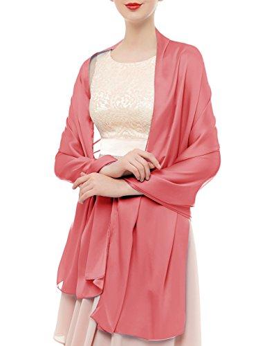 bridesmay bridesmay Seide Halstuch 180 * 90cm Stola Schal Seidenschal Festlich Hochzeit für Kleider in verschiedenen Farben Coral