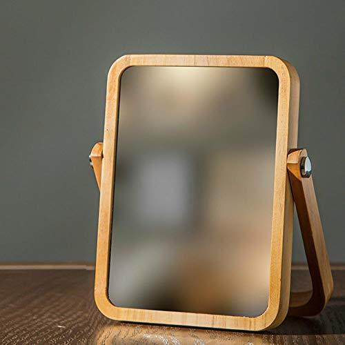 WYCYZJ Make-upspiegel Hout Stabiele Desktopdecoratie Spiegel Hoge heldere staande cosmetische ladekast Spiegel Badkameraccessoires, L
