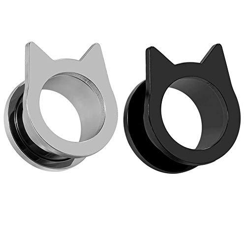 KLARE Messgeräte für Ohren Piercing Fleisch Tunnel und Stecker Schmuck süße Stahl Katze Ohrringe Stretchers Größe 2 g (6 mm) bis 1 Zoll (25 mm)